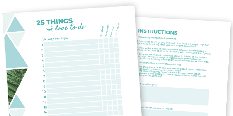 25 Things I Love to Do Worksheet for Counselors